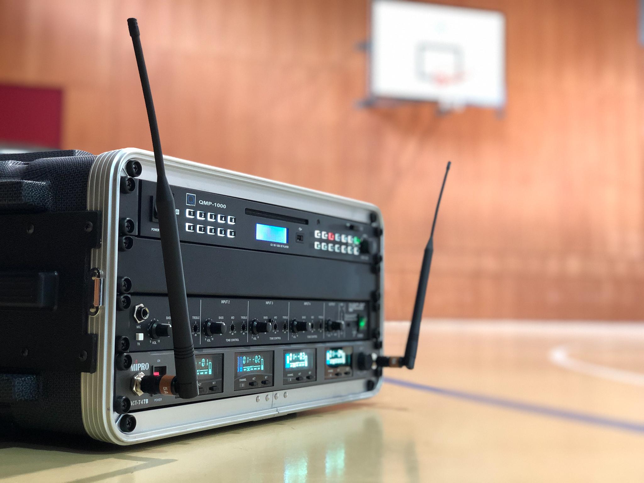 MIkrofon und Audio System in Turnhalle
